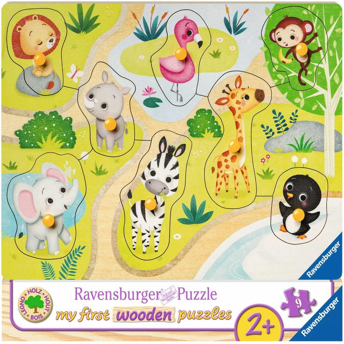 Puzzle din lemn animale zoo 8 piese